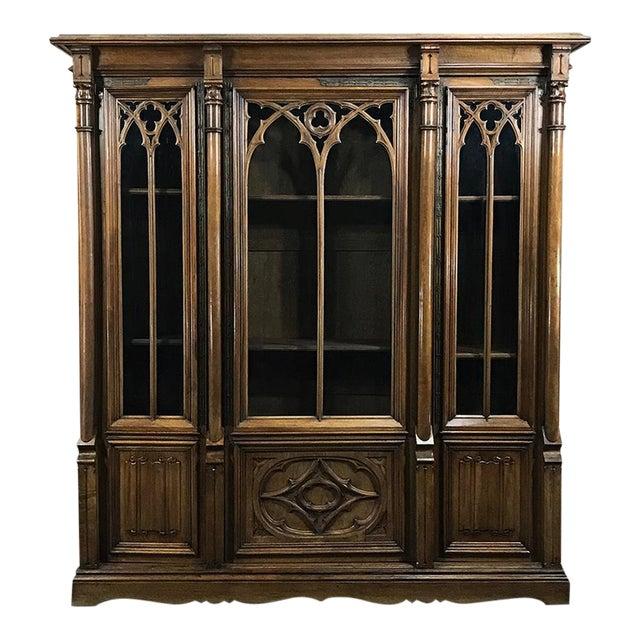 19th Century Gothic Walnut Triple Bookcase For Sale