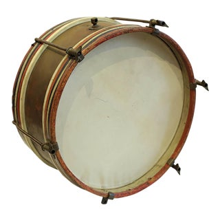 Early 20th Century Wood and Brass Snare Drum, Circa 1920-1940s