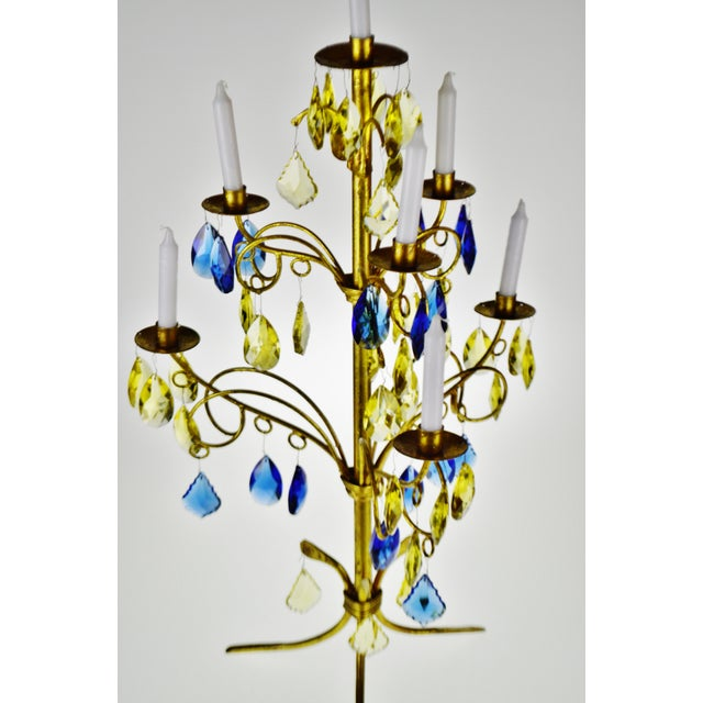 Vintage Italian Tole Gold Gilt Candelabra With Multi - Colored Cut Glass Prisms For Sale In Philadelphia - Image 6 of 13