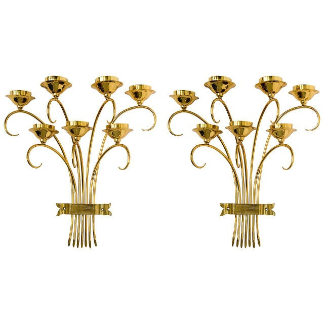 Brass Sconces Wall Lights in the Manner of Tommi Parzinger For Sale - Image 10 of 10