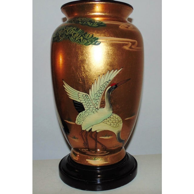 Chinoiserie Vintage Chinoiserie Gold Table Lamps W/ Birds Herons - a Pair For Sale - Image 3 of 9