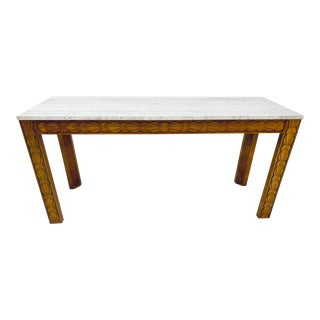 Travertine and Carved Wood Console Table by Century Furniture, 1980s For Sale