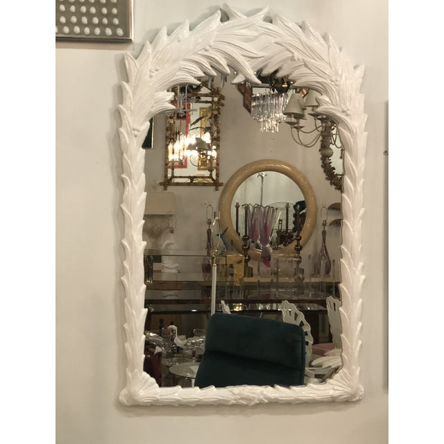 Hollywood Regency Vintage White Lacquered Palm Frond Wall Mirror For Sale - Image 3 of 11