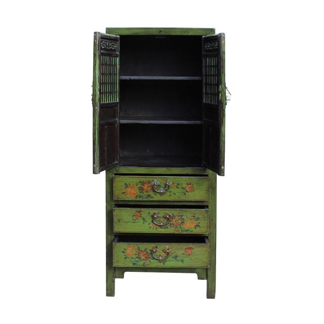 Chinese Distressed Green Narrow Wood Carving Storage Cabinet - Image 5 of 7