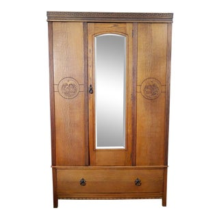 19th Century English Traditional Greek Key and Tiger Oak Armoire For Sale