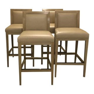 Modern Walnut Frame Bar Stools - Set of 4 For Sale