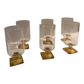Vintage 1970s Amber Stem Base Bar Ware Glasses - Set of 6 For Sale