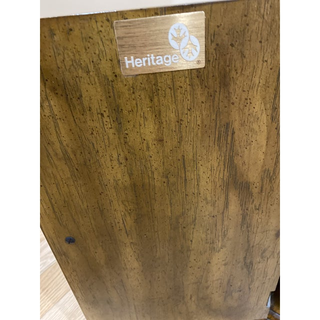 Hollywood Regency Vintage Drexel Heritage Wood Table With Storage For Sale - Image 3 of 8