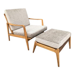 Beautiful Mid Century Lounge Chair & Ottoman For Sale