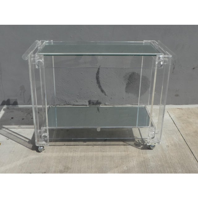 Transparent High Quality Lucite Bar Cart For Sale - Image 8 of 8