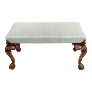 English Chippendale Blue Upholstery Bench For Sale
