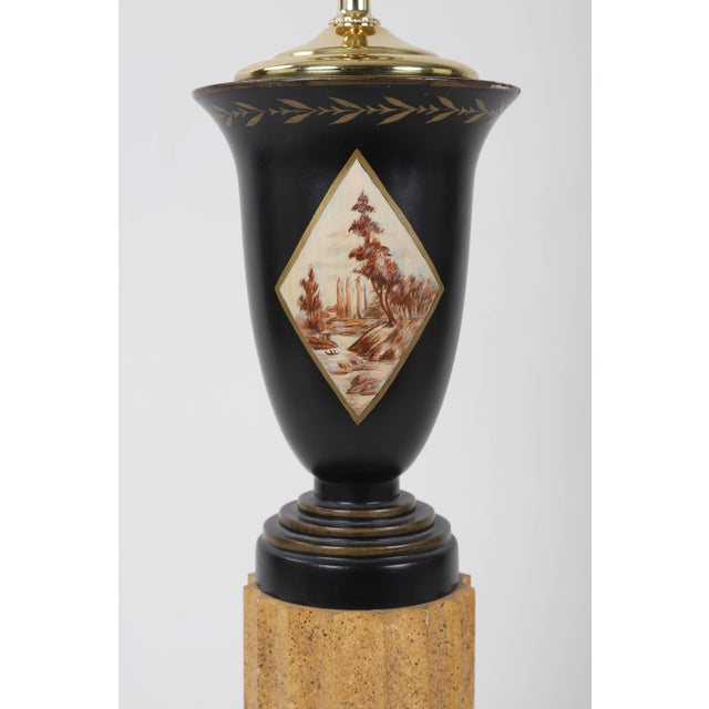 Vintage urn lamp with diamond shaped landscape paint design and architectural stand pole. Made in the mid 20th century.