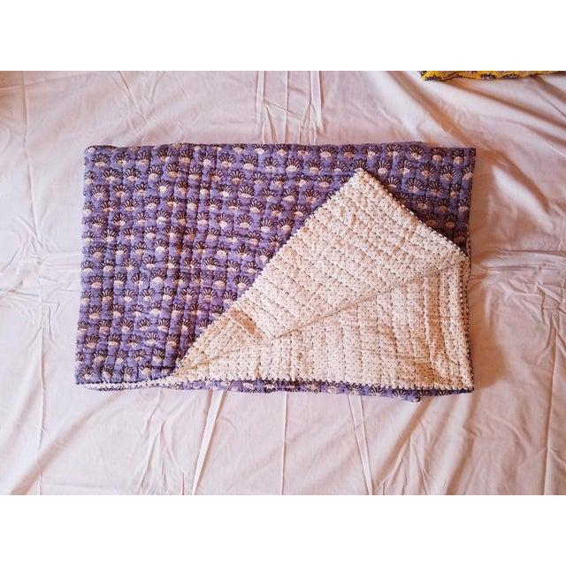"""Roberta Roller Rabbit reversible twin quilt in purple. 68"""" wide x 90"""" long"""