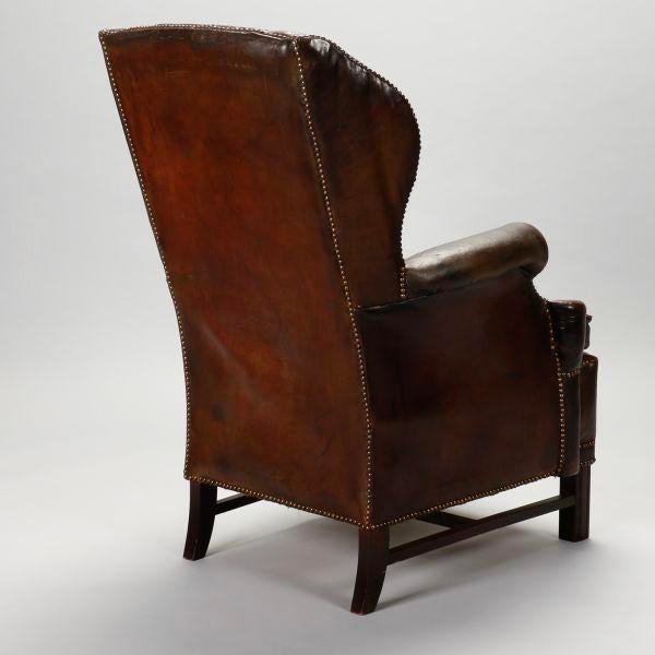 leather library chairs for sale english brown leather tufted library wing chair chairish 16646 | english brown leather tufted library wing chair 4184?aspect=fit&width=640&height=640
