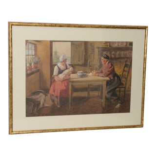 """G. Howard Hilder """"A Family Moment in Volendam"""" Original Watercolor C.1930s For Sale"""
