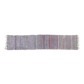 """Handwoven Reversible Vintage Swedish Rug by Scandinavian Made 94"""" x 19"""" For Sale"""
