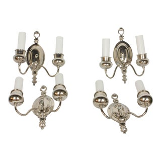 1930s Traditional Nickel Sconces - Set of 4 For Sale