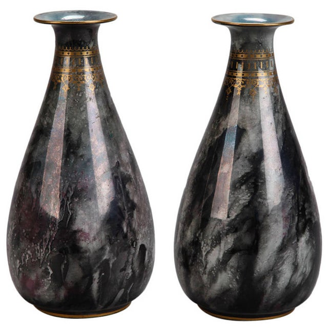 Art Deco Pair of Losol Ware Keeling and Co. Vases - Image 1 of 8