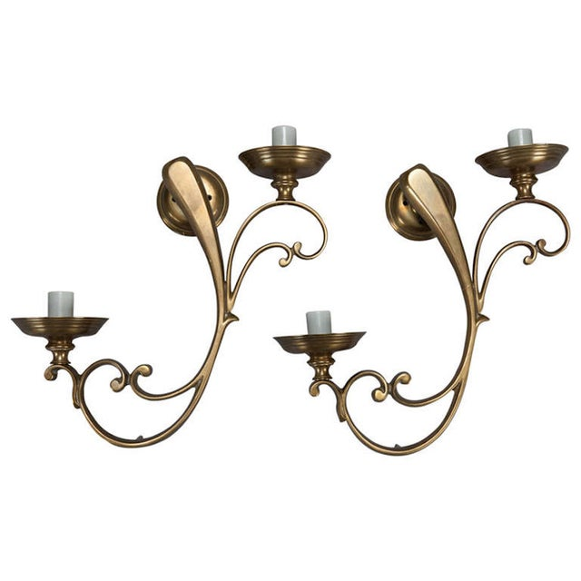 French Brass Elongated Scroll 2 Light Sconces - 2 - Image 1 of 3