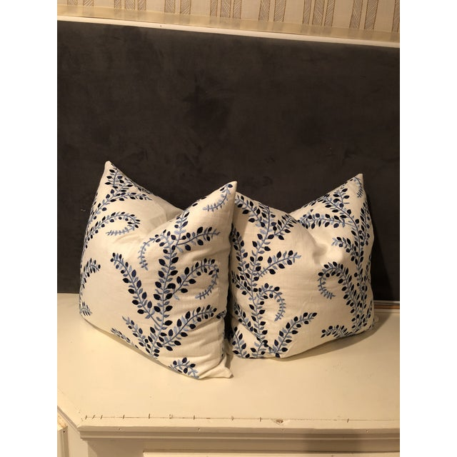 """Pretty in Blue"" Pillows - a Pair of Baris Chambray Embroidered by Duralee - Image 2 of 6"