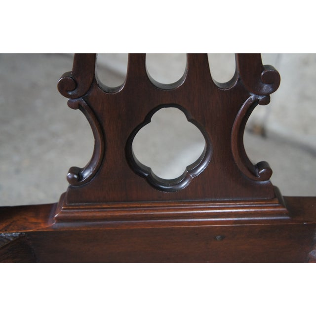Wood Chippendale Style Ribbon Back Dining Chairs Ball & Claw Side Accent - a Pair For Sale - Image 7 of 13