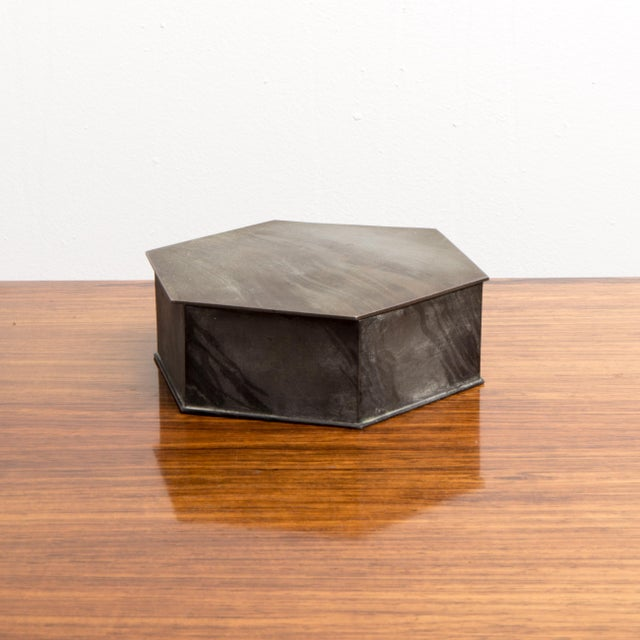 Gray 1950s Vintage Octagonal Box For Sale - Image 8 of 8