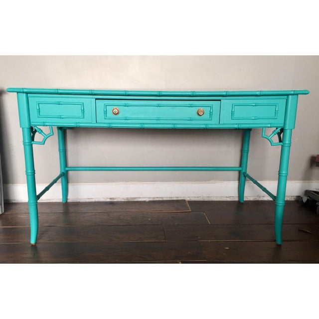 Thomasville Chinoiserie Faux Bamboo Desk For Sale - Image 9 of 9