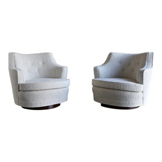 Edward Wormley Swivel Lounge Chairs for Dunbar - a Pair For Sale