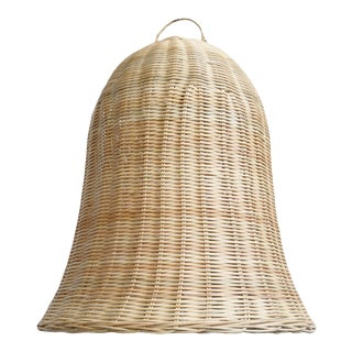 Raw Wicker Bell Pendant Small For Sale