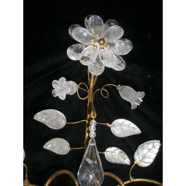 Contemporary Rock Crystal and 23K Gold Leaf Two-Light Sconces - a Pair For Sale - Image 3 of 11