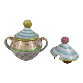 Mackenzie Childs Sugar Bowl With Two Lid Options For Sale
