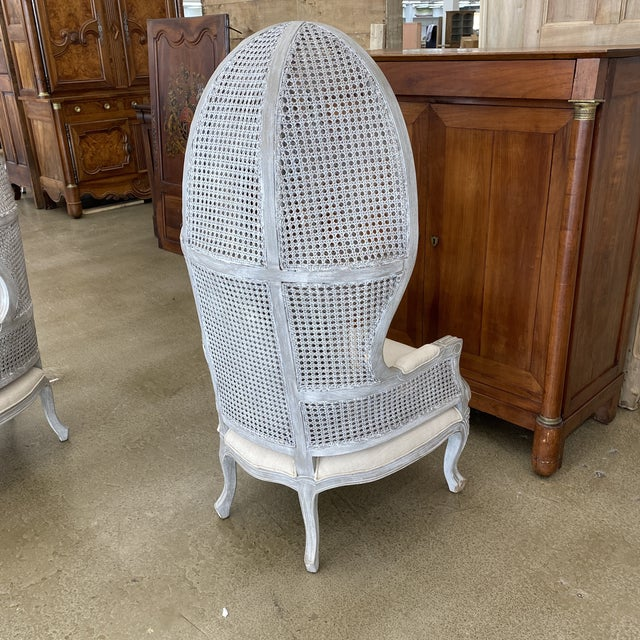 Early 21st Century French Balloon Caned Porters Canopy Chairs - a Pair For Sale - Image 5 of 13
