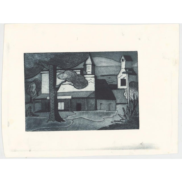 Modern 1930s Cityscape Architectural Aquatint Etching For Sale - Image 3 of 4