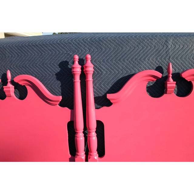Broyhill Hollywood Regency / Neo Classic / Geogian Glam Gloss Pink Twin Headboards - a Pair For Sale - Image 4 of 12