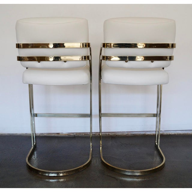 Hollywood Regency Cantilevered Bar Stools in Brass - A Pair - Image 7 of 8