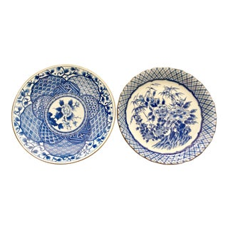 Large Imari Blue & White Plates - A Pair
