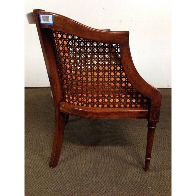Antique Walnut & Cane Velvet Upholstered Armchair - Image 4 of 5