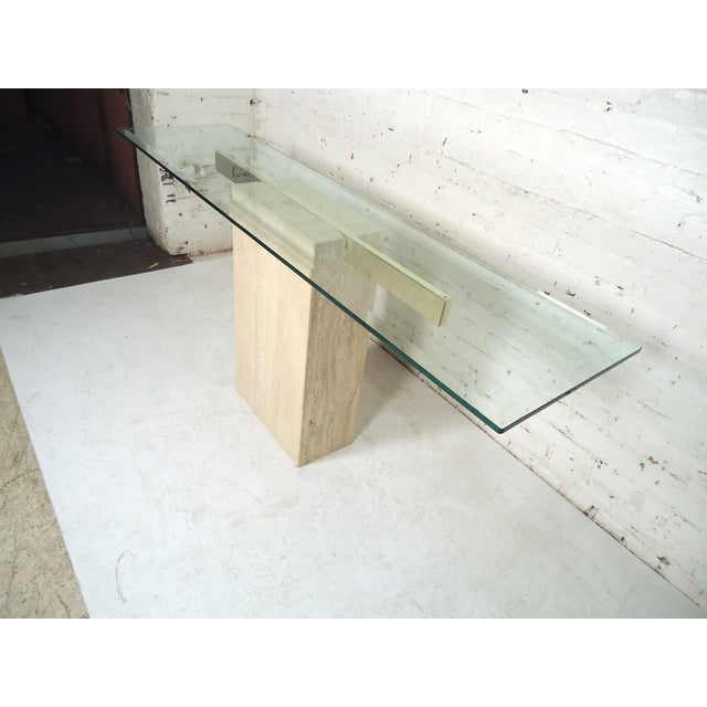 Glass Elegant Travertine Console Table by Artedi For Sale - Image 7 of 9