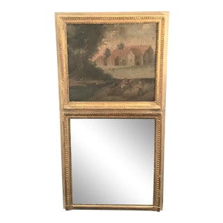 Antique 18th Century French Louis XVI Trumeau Mirror For Sale