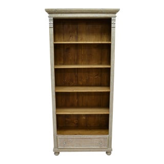 Pine Open Bookcase with One Drawer