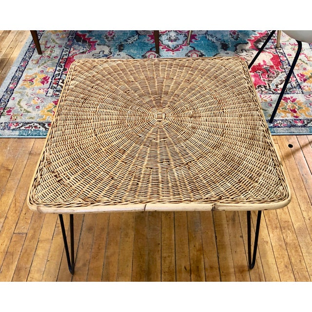 Mid-Century Modern Mid Century Modern Wicker Coffee Table With Hairpin Legs For Sale - Image 3 of 6
