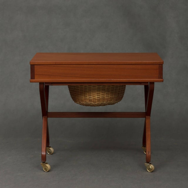 Contemporary 1950s Danish Modern Teak Sewing Table For Sale - Image 3 of 7