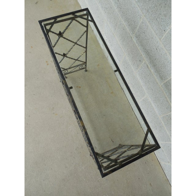 "Designer French Style Heavy Wrought Iron Glass Top Console 35""w X 12""d For Sale - Image 4 of 13"