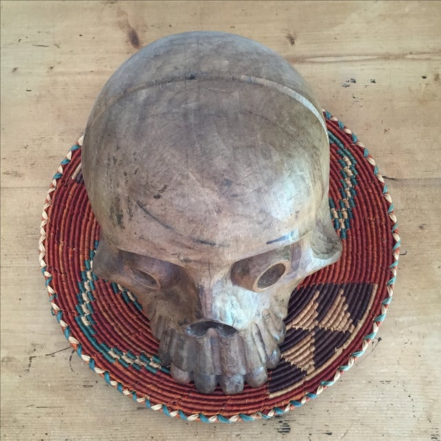 Vintage Paper Mache Mold Wood Skull - Image 8 of 8