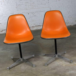 Eames for Herman Miller Orange Vinyl Upholstered Pivoting Side Shell Chair on Contract Base a Pair Psc Preview