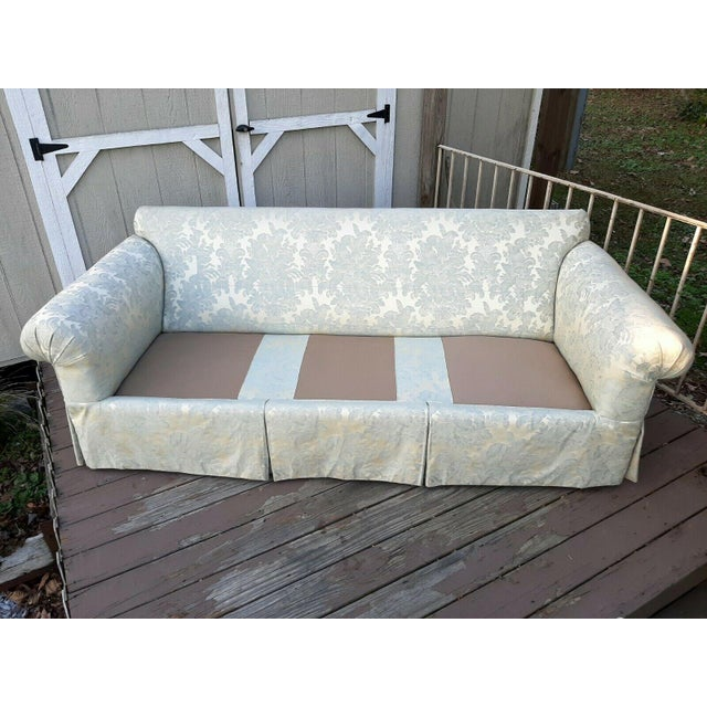 Formal Custom Built Blue on Ivory Silky Damask Upholstered Sofa For Sale - Image 11 of 13