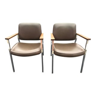 Pair of Mid Century Chrome Office Chairs For Sale