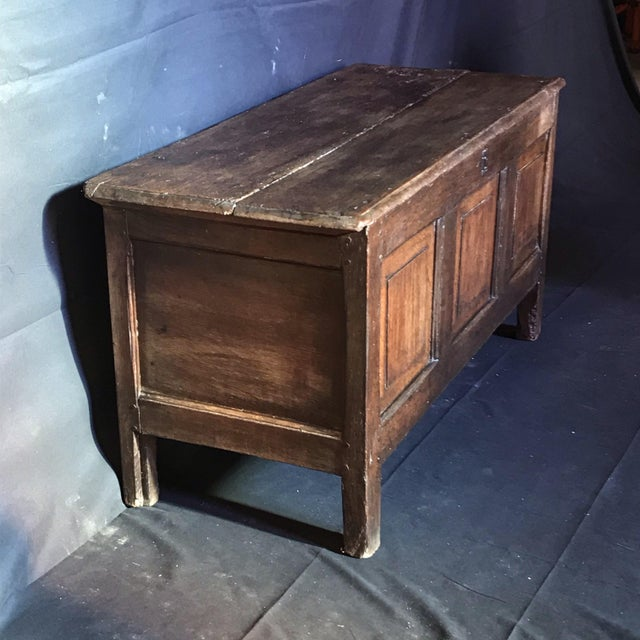 Antique English Paneled Oak Coffer Blanket Chest For Sale In Portland, ME - Image 6 of 13