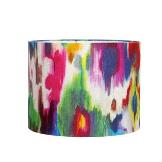 Loom Abstract Jewel Tone Watercolor Linen Drum Lampshade For Sale