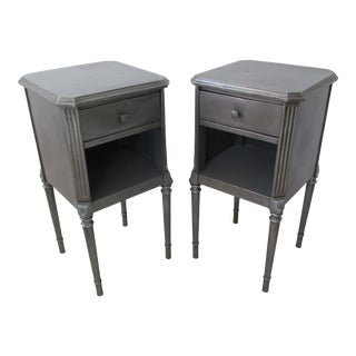 1920s Polished Steel Nightstands by Simmons - a Pair For Sale